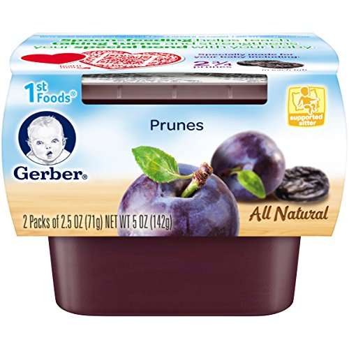 Gerber 1st Foods Prunes, 2.5 Ounce Tubs, 2 Count (Pack of 8)