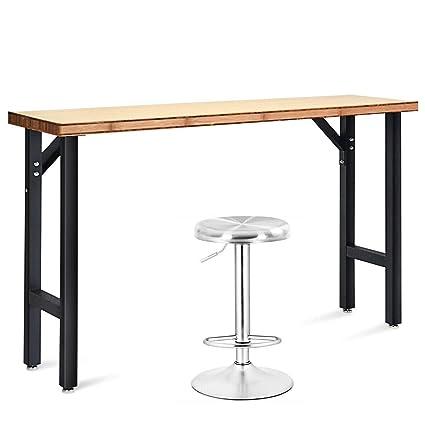 Cool Goplus 65 Workbench With Swivel Bar Stool Modern Style Bamboo Work Bench Stainless Steel Height Adjustable Stool Evergreenethics Interior Chair Design Evergreenethicsorg