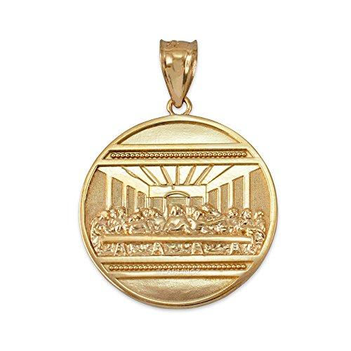 (LA BLINGZ 10K Gold Last Supper Medallion Pendant)