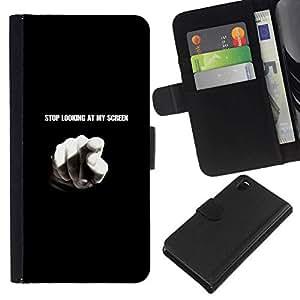 NEECELL GIFT forCITY // Billetera de cuero Caso Cubierta de protección Carcasa / Leather Wallet Case for Sony Xperia Z3 D6603 // Pare el mirar de mi pantalla