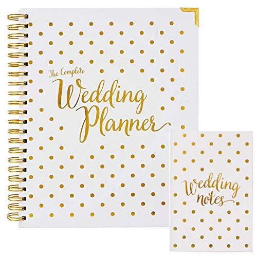 Wedding Planner & Organizer Bundle - Gold Undated Bridal Planning Diary & Notebook - Hard Cover, Pockets & Online Support