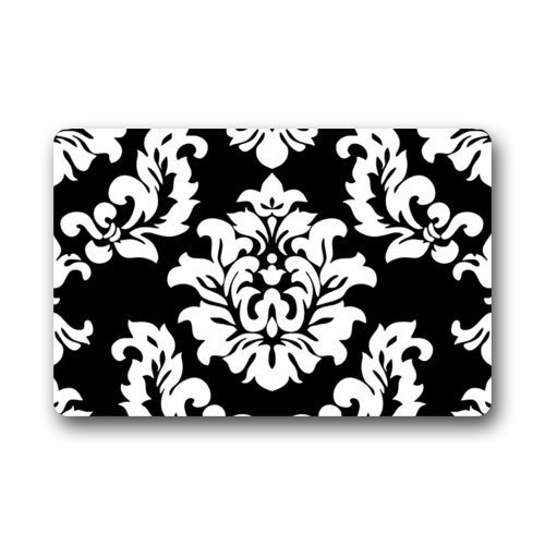 Dearhouse black and white damask pattern classic vintage french floral swirls doormat door mat for Black and white bathroom mats
