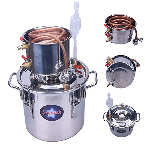 Cooler Barrel Wine (Seeutek 3 Gallon 12L Copper Tube Moonshine Still Spirits Kit Water Alcohol Distiller Home Brew Wine Making Kit Stainless Steel Oil Boiler)