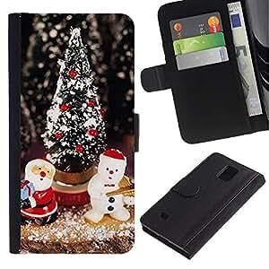 EuroTech - Samsung Galaxy Note 4 SM-N910 - Christmas Tree Santa Snowman Winter - Cuero PU Delgado caso Billetera cubierta Shell Armor Funda Case Cover Wallet Credit Card