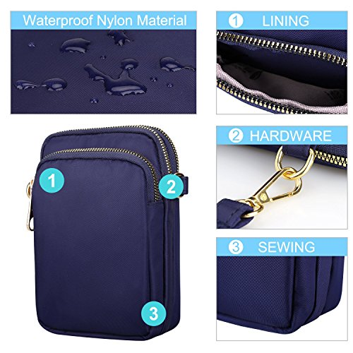 S Wallet Water for Resistant Purse Crossbody Phone women ZONE Bags Cell Nylon Small Blue rvqrp5