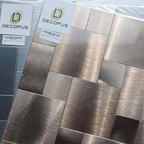 Decopus (Sample ONLY Peel and Stick Tiles, Chip Size of 75+37.5mm Square (Sample 1pc, Copper or Silver Color) (Silver Backsplash)