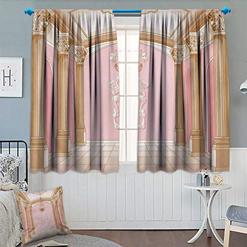 Price comparison product image Anhounine Princess, Blackout Curtain, Interior of The Ballroom Magic Castle Chandelier Ceiling Columns Kingdom Print, Waterproof Window Curtain, Rose Peach, W108 x L108 inch