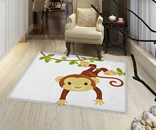 Monkey Green Rug - Nursery Non Slip Rugs Cute Cartoon Monkey Hanging on Liana Playful Safari Character Cartoon Mascot Indoor/Outdoor Area Rug 32