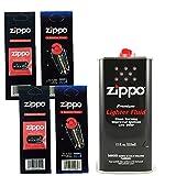 Zippo Gift Set - 12 Fl.oz Fluid Fuel and 2 Wick Card & 2 Flint Card (12 Flints)