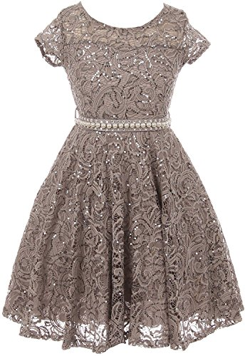 - iGirldress Cap Sleeve Floral Lace Glitter Pearl Holiday Party Flower Girl Dress Silver Size 10
