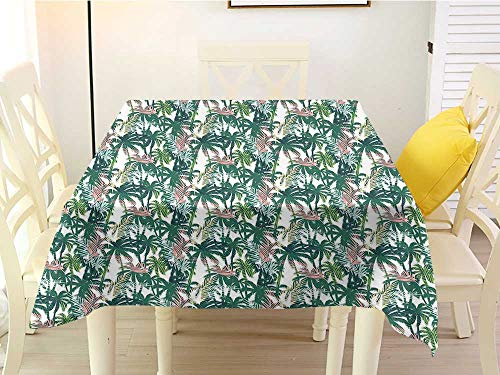L'sWOW Checkered Square Tablecloth Palm Tree Dreamy Abstract Jungle Foliage Rainforest Growth with Double Exposure Effect Multicolor Birthday 60 x 60 Inch
