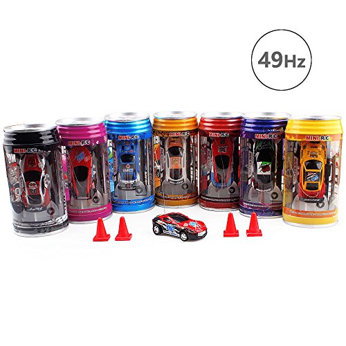 Mini Remote Control Racer,49Hz Pocket Cola Pot RC Cars with 4pack Barrier,Red&Blue