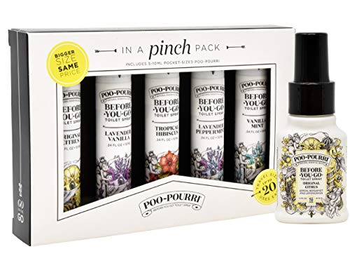 Poo-Pourri In A Pinch Pack Toilet Spray Gift Set, 5 Pack 10 mL and 1.4 Ounce Original Bottle