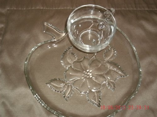 Hazel Atlas Crystal Apple Blossom Snack Plate and Cup