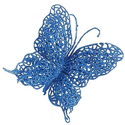 7 cm Firlar Lot de 12 Papillons d/écoratifs pour Sapin de No/ël Bleu 7 cm Red