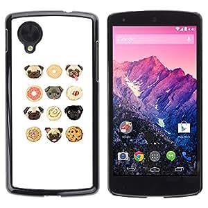 Estuche Cubierta Shell Smartphone estuche protector duro para el teléfono móvil Caso LG Google Nexus 5 D820 D821 / CECELL Phone case / / pug puppy cookie cute white pattern /