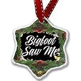 Christmas Ornament Floral Border Bigfoot Saw Me - Neonblond