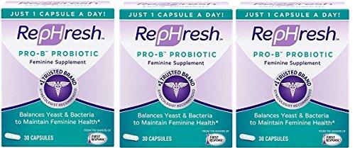 RepHresh Pro-B Probiotic Feminine Supplement-New Mega Size Package - (90 Capsules) by Rephresh