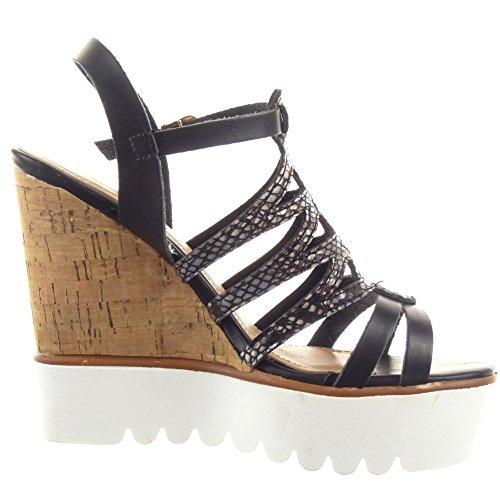 Sopily - Chaussure Mode Sandale Escarpin Plateforme Spartiates Cheville femmes Peau de serpent multi-bride boucle Talon compensé plateforme 12 CM - Noir
