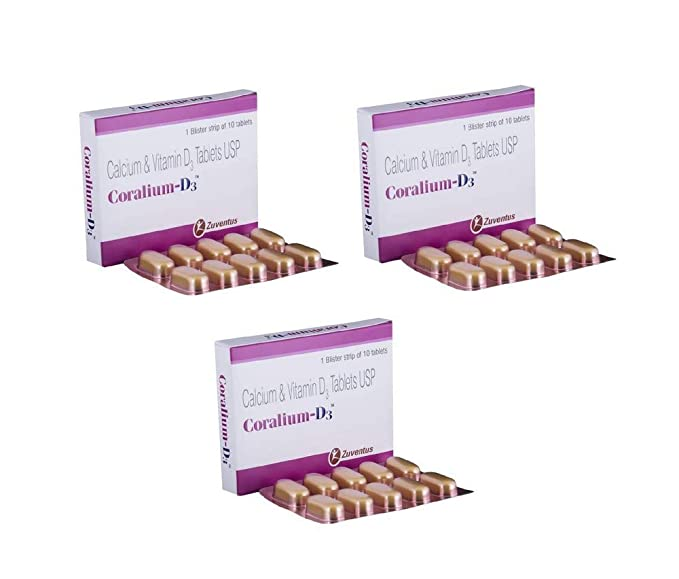 Buy Coralium-D3-10 Tablets (Pack of 3) Online at Low Prices in India -  Amazon.in