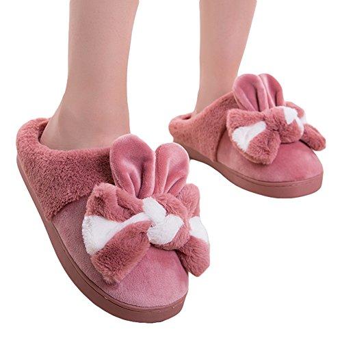 Pantofole Da Donna In Cotone Invernale Btrada - Adorabile Coniglietto Con Le Morbide Ciabattine Di Pelliccia Delle Fodere Di Pelliccia Delle Ragazze Bowknot Rosse