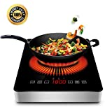 1800w Portable Induction Cooktop with COMMERCIAL PLUG Countertop Burner Cooktop with Timer, Locker and LED Display