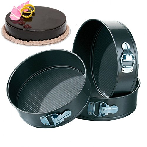 Slings Tong Da 3Pc Non-Stick Springform Cake Pan, Baking Tray ,Round, 3 Piece,Black