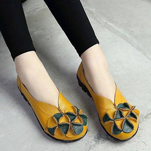 Pelle Multi-stile Sunrolan Lavoro Manuale Autunno Nuovo Modello Fiore Piatto Slip-on Scarpe Fannullone Style4-giallo