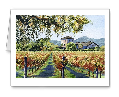 Vineyard Home - Set of 10 Note Cards With ()