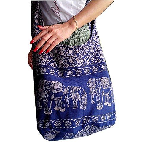 Long Hip Bag, Cross Shoulder Bag, Yaam, Beach, Hippie, Goa, Hobo Lightweight Elephant Design-navy ()