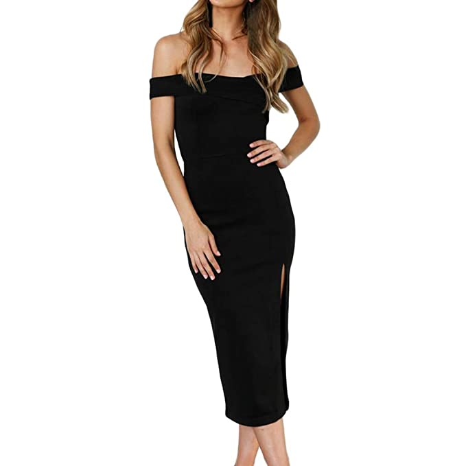 8d5ec4358ba2 SUBWELL Women's Off Shoulder Side Slit Bodycon Cocktail Party Evening  Dresses Long Maxi Dress at Amazon Women's Clothing store: