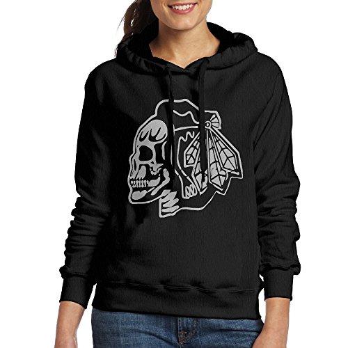 Duola Funny Chicago Skull Blackhawks Women's Long Sleeve Hooded Sweatshirt S