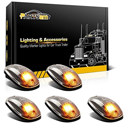 Partsam LED Cab Marker Roof Lights 5PCS Clear Lens 9LED Amber Top Clearance Lights Replacement for 2003-2018 Dodge Ram 1500 2500 3500 4500 5500 SUV Truck Pickup ()