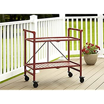 this item indoor or outdoor folding metal rolling serving cart red
