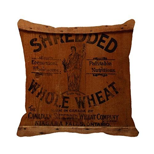 jxsed Vintage Burlap Feed Sack枕カバー B07F1P14KM