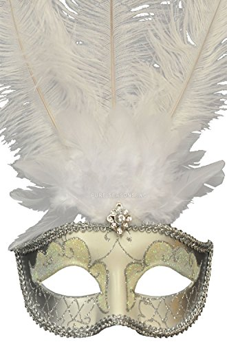 Venetian Style Mask with Feather in White & Silver Pattern