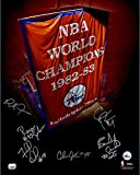 1983 Philadelphia 76ers Autographed 16'' x 20'' Banner Photograph with 6 Signatures - Fanatics Authentic Certified