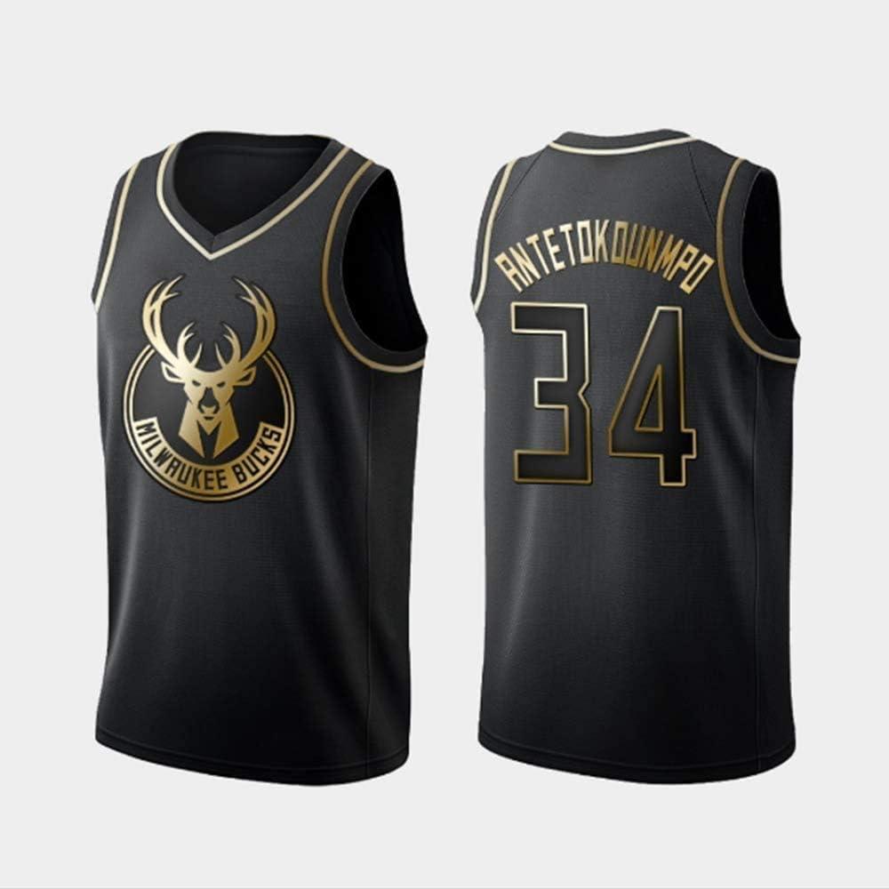 A-lee Camiseta de Baloncesto para Hombre,Milwaukee Bucks #34 Giannis Antetokounmpo Bordado Swingman Transpirable y Resistente al Desgaste Camiseta para Fan