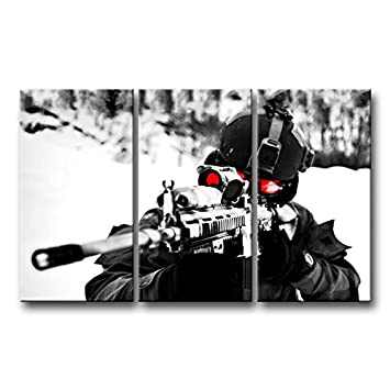 So Crazy Art 3 Panel Wall Art Painting Sniper Aim Military Pictures Prints On Canvas Military The Picture Decor Oil For Home Modern Decoration Print