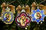 Enameled Russian Christmas Ornament Set 3 Madonna and Child Jeweled Pendant Medal Icon