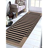 Rugsotic Carpets Hand Woven Kelim Woolen 3 x 13 Contemporary Runner Rug Cream Charcoal D00125 With Fringe