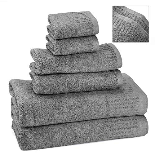 Bath Towels Towel Sets Washcloths 100% Cotton No Lint No Fading Highly Absorbent (Gray-2piece)