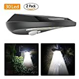 Solar Lights Outdoor, 30 LED Everbright Solar Powered Security Light with Motion Sensor, 120 Degree Wide Angle Sensor, Wireless Waterproof Garden Wall Lights for Fence, Patio, Deck, Yard, Driveway, Walkway Lighting, 2 Pack