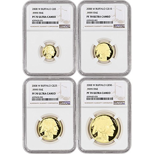 Gold Buffalo Proof - 2008 W American Gold Buffalo Proof Four Coin Year Set Large Label PF70