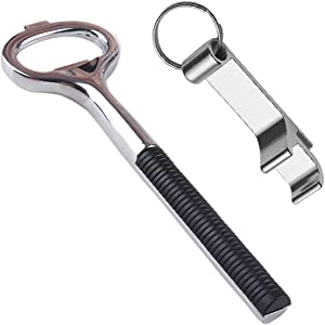 Maxracy Beer Bottle Opener, Bartender Bottle Opener, Heavy Duty Stainless Steel Beer Bottle Cap Openers and Pocket Small Bar Claw Beverage Keychain Ring