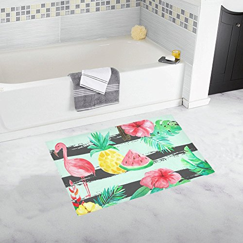 AnnHomeArt flamingo and fruits Non-Slip Bath Rug Bath Mat Rug Doormat 20''x 32'' (Target Bath Runner)