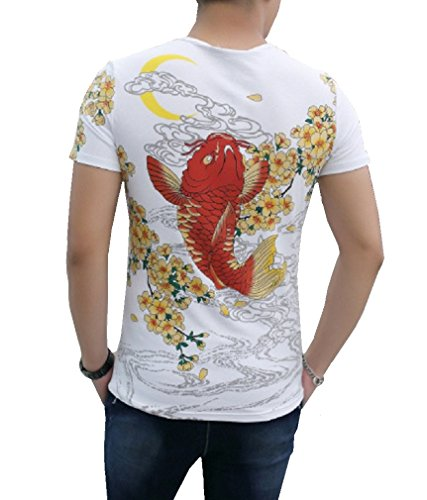 [CNS Japanese Traditional Design [ Rising Red Carp in flower T-shirt ] (L, White)] (Cats Musical Halloween Costumes)