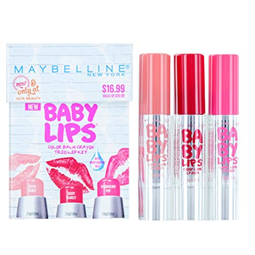 Maybelline Baby Lips Color Balm Crayon Trio Lip Set: Blush Burst, Sassy Scarlet, and Strawberry Pop