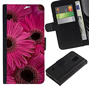 iKiki Tech / Cartera Funda Carcasa - Daisy Flower Pink Purple Flowers - Samsung Galaxy S5 SM-G900