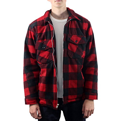 Men's Buffalo Plaid Polar Fleece Jacket (Medium,RED)